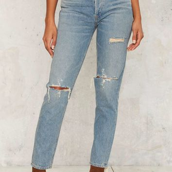 A Gold E Jamie High Rise Jeans - Classic Blue