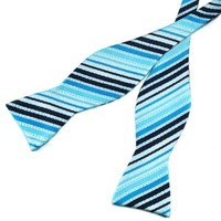 Pensee Mens Self Bow Tie Sky Blue and Black Stripe Jacquard Woven Silk Bow Ties