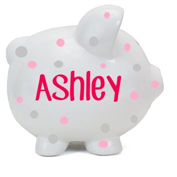 Polka Dot Personalized Piggy Bank