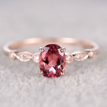 Tourmaline And Diamond Ring Rose Gold Engagement Ring 6x8mm Pink Stone Art Deco Antique Milgrain 14k/18k