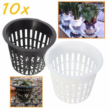 10pcs/Lot 35mm  Black White Plastic Hydroponic Planting Mesh Net Pot Baskets Garden Plant Grow Cup