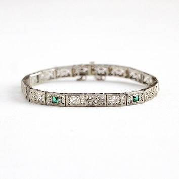 Antique Filigree Bracelet - 14k White Gold Diamond & Simulated Emerald Panel Line Bracelet - Vintage 1920s Art Deco Green Glass Fine Jewelry