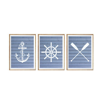 Set of 3 Prints, Nautical Art Prints, Oars, Life Saver, Buoy, Anchor, Faux Wood Art, Nautical Art, Boys Nursery Art, Blue or Gray Print *36*