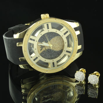 Real Diamond Men Watch Techno King Gold Tone Matching Earrings 9mm Hip Hop Iced