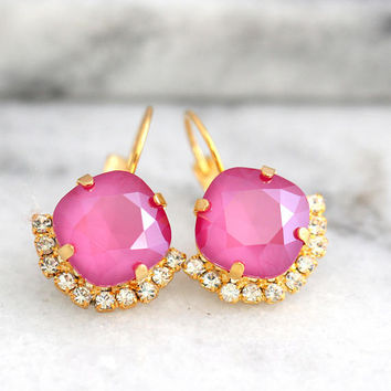 Pink Earrings, Pink Fuchsia Earrings, Dark Pink Earrings, Swarovski Pink Earrings, Fuchsia Pink Crystal Swarovski Earrings, Pink Jewelry