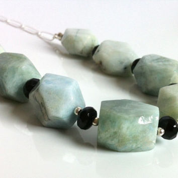 Natural Aquamarine Large Nugget Black Onyx Sterling Silver Necklace Raw Blue / Green Gemstone Statement Necklace Chunky Stone Nuggets Canada