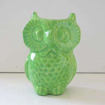 Ceramic Owl Vase Vintage Design in Seafoam Green Office Gift Pencil Holder