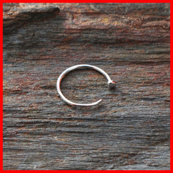 14k White Gold Nose Hoop Ring