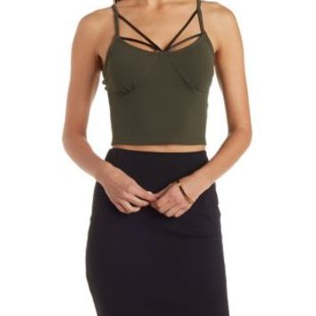 Olive Strappy Knit and Faux Leather Crop Top by Charlotte Russe