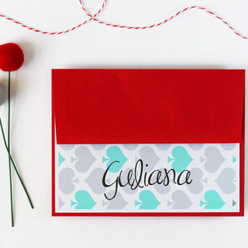 Mother's Day Gift Custom Stationary Red and Teal Turquoise Aqua Personalized Stationery Colorful Spades Stationary - Set of 10