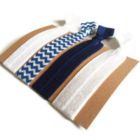 Elastic Hair Ties Navy and White Chevron Yoga Hair Bands