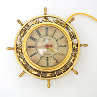 1930s SESSSIONS Ship Wheel with Zodiac Signs Clock.  Vintage Electric Sessions Clock.