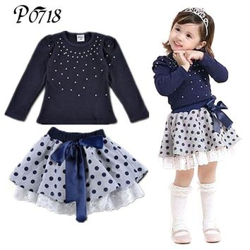 2018 New Arrival Autumn Winter Little Girls Clothes Sets Diamond T-shirt + Polka Dot Lace Skirt 2 Pieces Suits Children Outfits