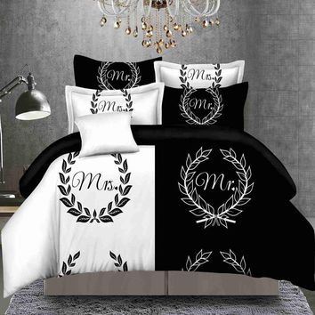 TUTUBIRD-Black and white lovers Bedding Set bridegroom Her side Duvet Cover bohemian boho style garland Bedspread bedlinen