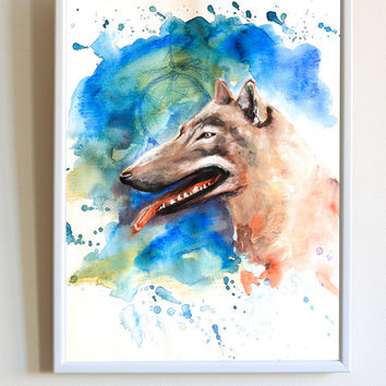 Watercolor Wolf Native American Spirit Dream Catcher Colorful Animal Nursery Print Poster Wall Art Decor
