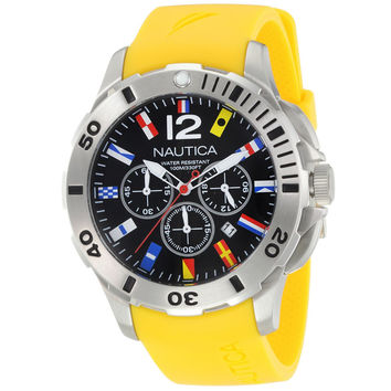Nautica N18637G Men's BFD 101 Dive Style Country Flag Black Dial Yellow Rubber Strap Stainless Steel Chronograph Watch