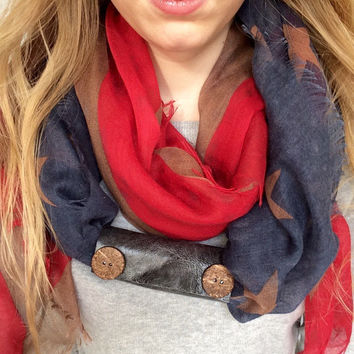 Upcycled Extra Wide Grey Blue Leather 2 Natural Button Embellished Scarf Cuff