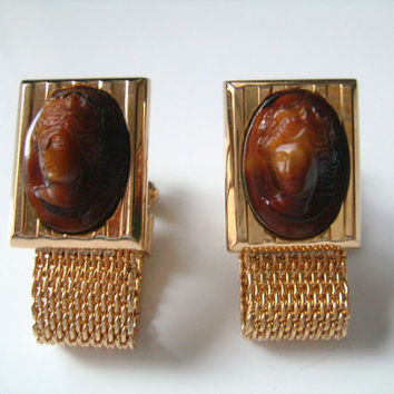 Rare Hickok USA Gold Mesh With Pair of Goddess Athena Lady Profile Cameo Classic Cufflinks Wrap Around Cuff Links Formal Jewelry Accessories