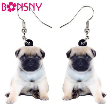 Bonsny Statement Acrylic Sweet Pug Dog Puppy Earrings Dangle Drop Cute Animal Jewelry For Women Girls Teens Gift Novelty Charms