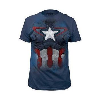 Captain America Suit Avengers Marvel Licensed Adult Costume Blue T-Shirt - M