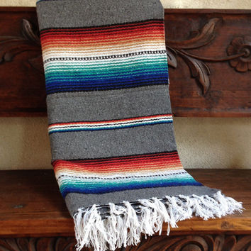 Mexican Serape Style Striped Boho Yoga Beach Blanket- Gray,