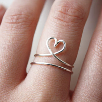 True Love +1 ring set, heart ring, wire ring, silver band ring, adjust ring, love ring, girlfriend gift, best friend gift,for her,minimalist
