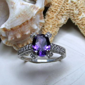 10k White Gold African Amethyst and Diamond Ring 3.02g Size 7