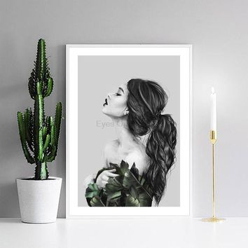 No Frame Originality Plant Figure Painting Scandinavian Poster Canvas Painting Wall Picture Print Nordic Art Home Decor F01