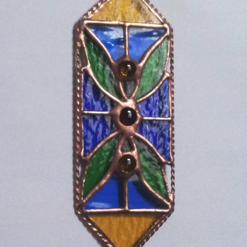 "Pendant ""Leaves"". Suncatcher. Ornament. Window decor. Stained Glass. Handmade. DizArtEx."