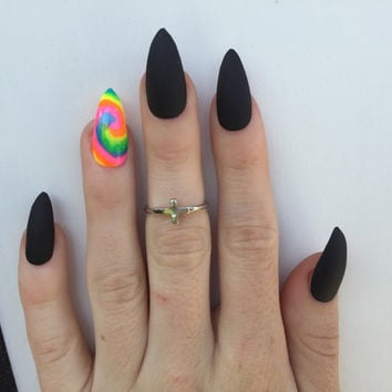 24  TieDye Blacklight and Matte Black Stiletto nails, Neon Festival nails, matt black nails, Matte black press on nails