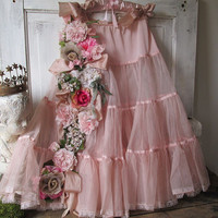Shabby petticoat skirt romantic vintage blush pink adorned in millinery flowers w/ roses cottage chic art or home decor anita spero design