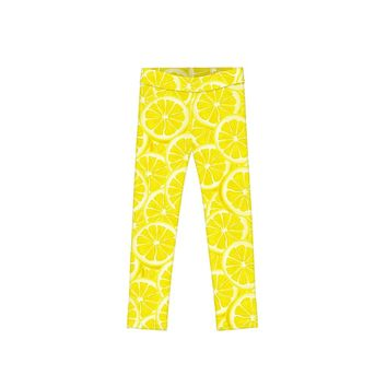 A Piece of Sun Lucy Yellow Lemon Print Cute Summer Leggings - Girls