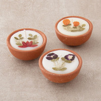 Terra Cotta Flower Candles  - Set of 3