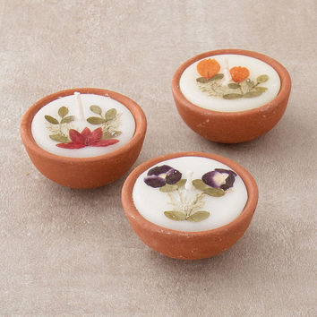 Auroshika Terra Cotta Flower Candles  - Set of 3