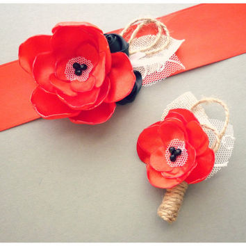 Red Bridal Sash, Wedding Sash and Boutonniere for Groom - Poppy Red Rustic Wedding