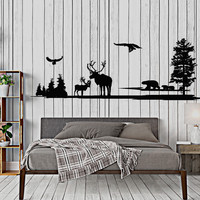 Wall Vinyl Decal Wild Side Nature Beer Forest Deer Eagle Home Interior Decor Unique Gift z4395
