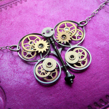 Steampunk Butterfly Necklace Luna Moth by amechanicalmind