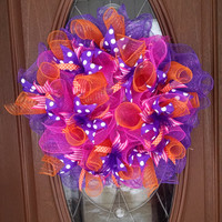 "Deco Mesh Wreath, Bright Colorful Wreath, Year Round Wreath, Purple Orange Hot Pink, Ruffle Wreath, Polka Dot Ribbon, 21"" Indoor/Outdoor"