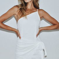 California Blue One-Shoulder Dress // White