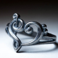 Music Heart Ring, silver, selectable size, handmade, MADE TO ORDER ..... Clefs Ring, Treble Clef Ring, Bass Clef Ring