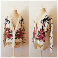 Vintage 90s Hand Knit Womens Fall Deep V Cardigan Roses Floral Granny Geek Large