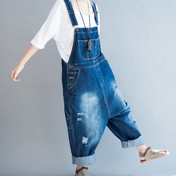 Leisure denim Long Pants Loose Fitting Bib jeans