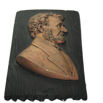 Vintage Chalkware Abraham Lincoln Plaque, Home Decor, Wall Hanging, Collectible, Abe Lincoln