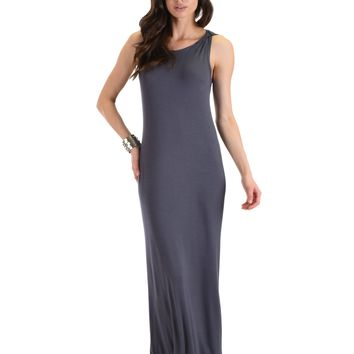 Lyss Loo Ascension Contemporary Charcoal Hooded Maxi Dress