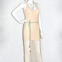 Love Song Peach Lace Suede Tie Waist Maxi Dress