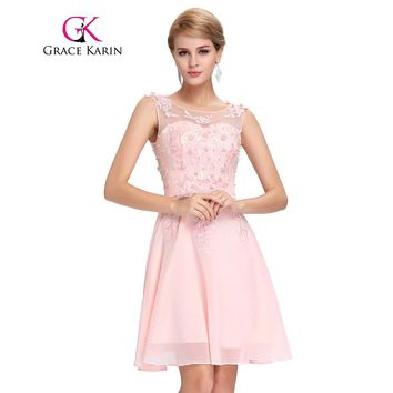 Grace Karin Short Prom Dress 2018 O Neck Sexy Chiffon Sleeveless Knee Length Junior School Prom Gown Special Occasion Dresses