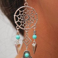 Dream Catcher earrings, hamsa hand earrings, boho hippie earrings, bohemian earrings, magical, gypsy, long earrings. Dreamcatcher. Gift idea