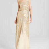 Adrianna Papell Sleeveless Beaded Blouson Gown - Bloomingdale's Exclusive
