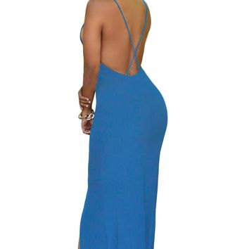 Chicloth Blue Crisscross Daring Back Maxi Dress