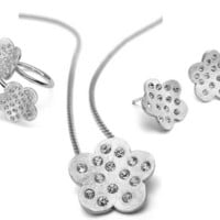 Dalia Pascal Scratch Fine Sterling 925 Silver and Crystals Flower Necklace, Earrings, and Ring Set